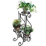 HJQ Porte Fleurs en Fer Forge Support Pliable de Pots Jardinière Métal 3 Niveaux sur Pied, Etagere PlanteExtérieur Intérieur, pour Jardin Salon Balcon Bronze