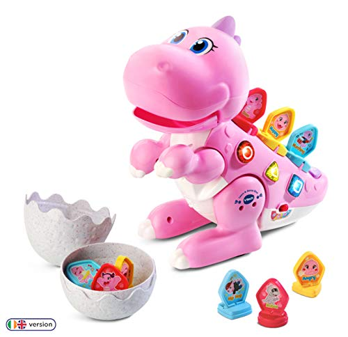 VTech Learn & Dance Dino Baby Interactive Toy, Educational Baby Musical Toy with Shapes Sorting, Sound Toy with Different Music Styles for Babies & Toddlers from 2 Years Old, Pink