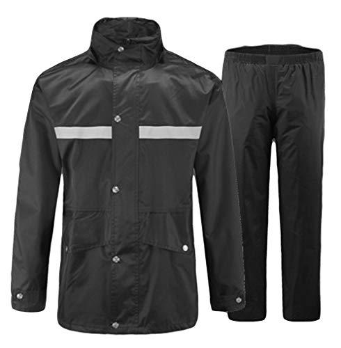 Icegrey Wasserdichten Anzug mit Reflexstreifen Regenjacke mit Kapuze Regenhosen Arbeitskleidung Schwarz-1 46