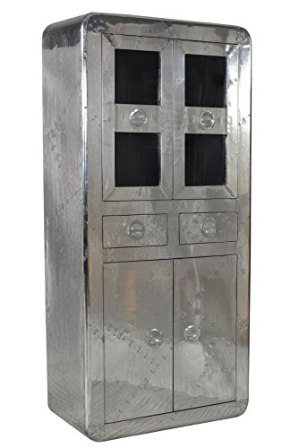 SIT-Möbel Airman 1704-21, Vitrine mit 2 Schubladen & 4 Türen, Mangoholz & Aluminium, silber, 90 x 40 x 187 cm