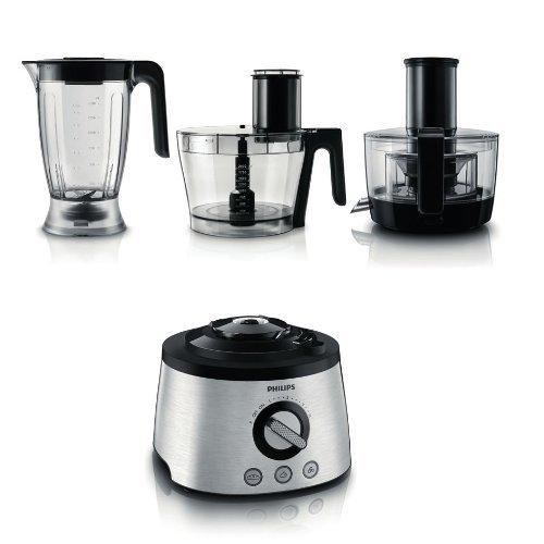 Philips HR7778/00 Küchenmaschine (1.300 Watt, inkl. Knethaken, Entsafter, Standmixer und Zitruspresse) schwarz/silber - 2