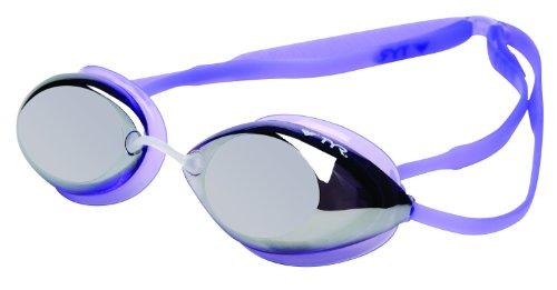 TYR Tracer Racing Gafas de natación de Perfil bajo con Espejo para Mujer, Mujer, Color Silver/Periwinkle/Periwinkle, tamaño Small