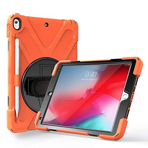JZ 360 Degrees Kickstand Case Cover Compatible with iPad Pro 10.5 inch (2017) Stand Case with Wrist Strap,Shoulder Strap and Pencil Holder - Orange