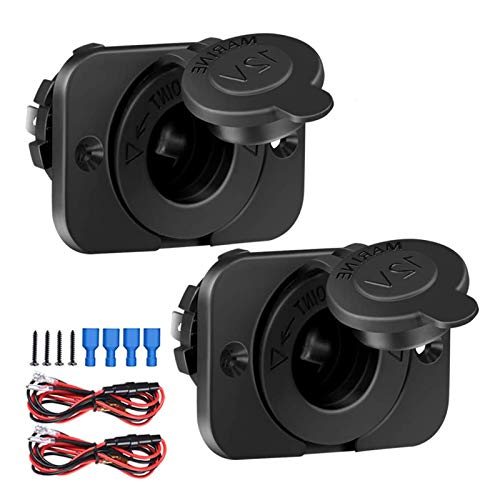 2 Pack 12V/24V Marine Boat Cigarette Lighter Socket, Waterproof Car Power Outlet Receptacle, for Truck Motorcycle Scooter ATV RV by ZHSMS