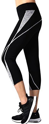 Neonysweets Womens Capri Workout Pants Yoga Pants Active Leggings Black Gray XL