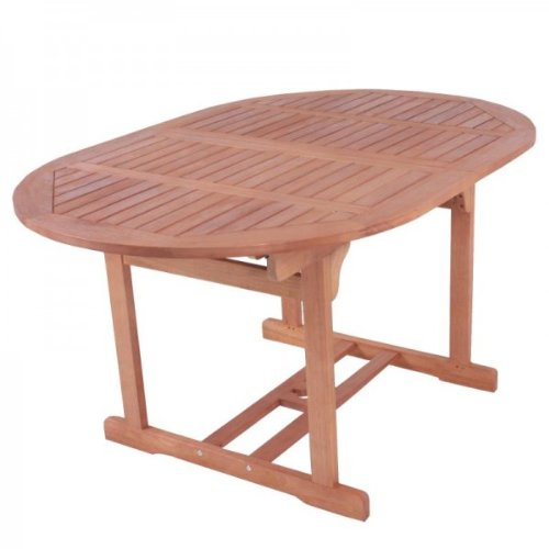 Multistore 2002 Table de jardin ovale en bois dur de Bankirai huilé 150 à 200 cm