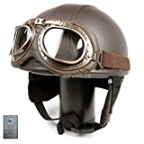 Hanmi Global Vintage Motorcycle Motorbike Scooter Half Leather Helmet Brown wlth Free Goggles and One Ganda Anti Electromagnetic Radiation Sticker