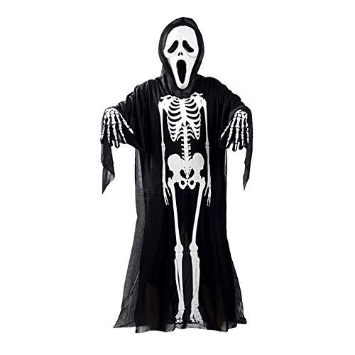 abbybubble Disfraz de Cosplay de Fantasma de Esqueleto de Calavera para Adultos, nios, Carnaval de Halloween, Disfraces, Ropa de Disfraces + mscara de Calavera y Diablo + Guantes