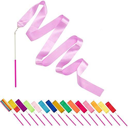 Alumuk Gymnastikband mit Stab, Tanzband Turnband Rhythmikband Wirbelband Schwungband mit Stab für Kinder Kunst Tanzt Ballett 2M - 16Stück/Set (16er Tanzbänder)