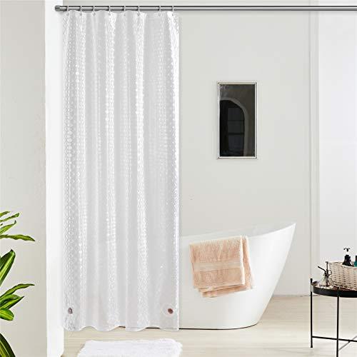 Furlinic Duschvorhang Anti-schimmel Wasserdicht Transparent Badvorhang aus Eva 120x180cm 3D Effekt Rhombus mit 8 Duschvorhangringen Saum mit Steinen.