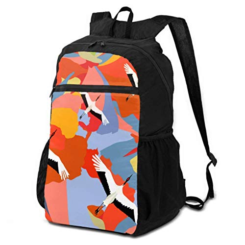 Casual Travel Daypack for Teens Abstract Illustration Japanese Cranes Flying Over Daypack for Women Travel Travel Daypack Cute Lightweight Waterproof for Men & Womentravel Camping Outdoor