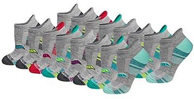 Saucony Women's Performance Heel Tab Athletic Socks (8, Grey Assorted (16 Pairs), Shoe Size: 5-10