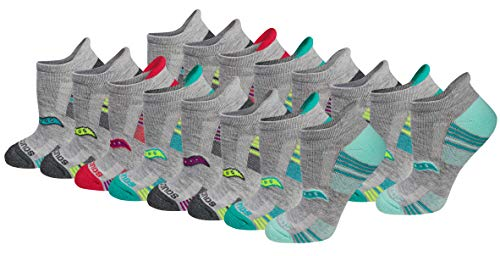 affodable Saucony Performance Heel Tab Women's Sports Socks (8, Gray (16 Pairs) Combination), Shoe Size 5-10