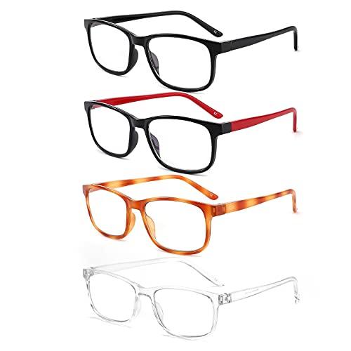 BOSAIL 4 Pack Lesebrille Blaulichtfilter Brille für Damen und Herren,Federscharnier Computerbrille mit Stärke 1.0
