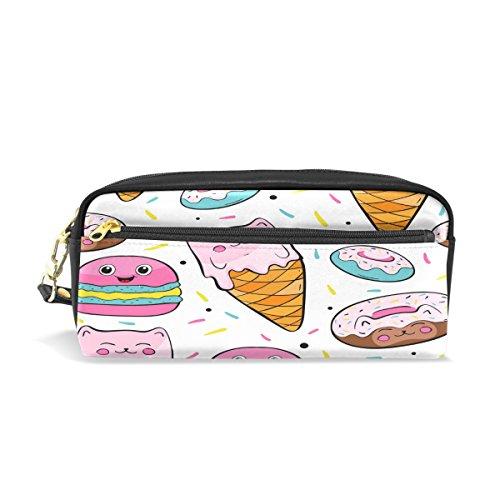 ALAZA Donut EIS Federmäppchen Reißverschluss PU Leder Pen Bag Kosmetik Make-up Tasche, Schreibwaren Tasche Tasche großes Fassungsvermögen