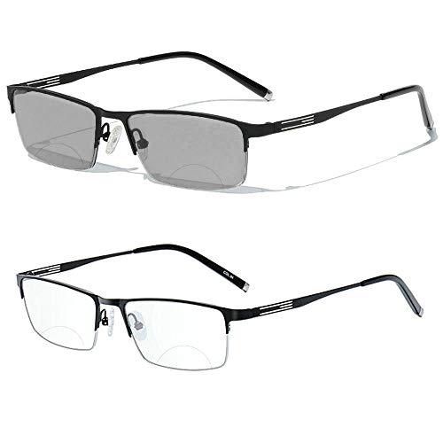 Men's Bifocal Reading Glasses Business Sun Photochromic Lens Metal Frame
