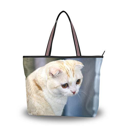 Bolsos de hombro Cremallera niña Gatos Scottish Fold Bolso tote blanco Bolso Mujer Bolsa de compras
