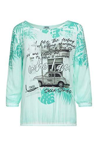SOCCX Damen Blusenshirt mit 3/4-Ärmeln und Artwork
