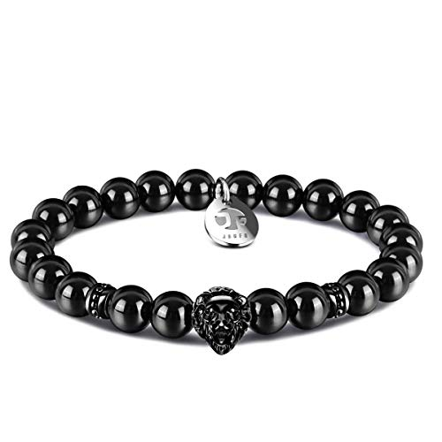 JOXFA Lion Agate Bead Bracelet for Mens, 8mm Natural Gemstone Mala Beads Stainless Steel Lion King Energy Healing Courage Charm Elastic Stretch Mens Beaded Bracelets with Gift Box