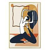 Abstrakte Yoga Mädchen Wandkunst Leinwand Pilates Übung