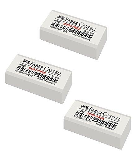 Faber Castell 187082 Goma de borrar Dust Free blíster 3 unidades, color blanco