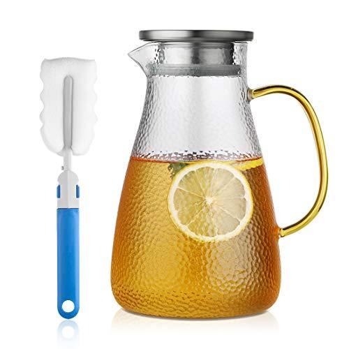 Brocca in Vetro con Coperchio in Acciaio Inox, 2L Caraffa per Acqua con Manico, Brocca per Bevande di buona qualità per Succo Fatto in casa e tè Freddo