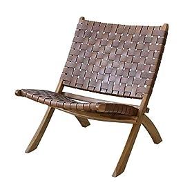 Chaise longue de conception créative, cuir en cuir tissé en rotin chaise pliante moderne minimaliste ergonomique design…