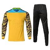 HGYJ Camiseta de Portero de fútbol, Traje de Entrenamiento de fútbol/Pantalones Cortos de Portero/Pantalones de Portero, Adecuado para Hombres/Mujeres,Yellow3,S