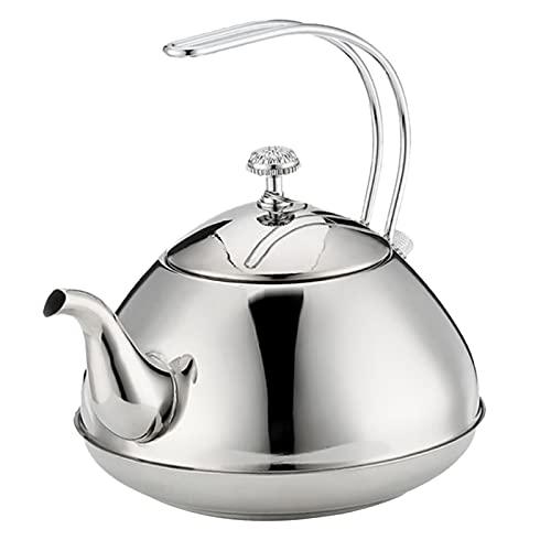 Hervidor de té - Tetera con acabado en el espejo - Tetera de té superior de la estufa - 1.0L / 1.5L (Color : 1.5L Silver)