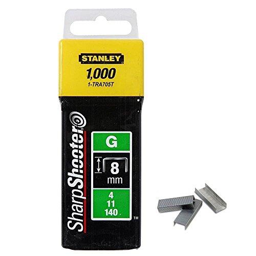 Stanley Grapa Tipo G (4/11/140) 8mm-1000 u. 1-TRA705T, Amarillo/Negro, 8mm, Set de 1000 Piezas