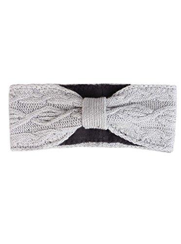 Zwillingsherz Stirnband mit Schleife und Kaschmir - Hochwertiges Strick-Kopfband für Damen Frauen Mädchen - Mit Fleece - Wolle - Ohrenschutz - Haarband - warm - weich für Winter und Frühjahr hgr
