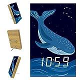 Desheze Sveglia Digitale Balena Blu del Fumetto Orologio Elettronico Comodino Sveglia Batteria Automatica A Comando Vocale E Ricarica USB 10x16x2.4cm