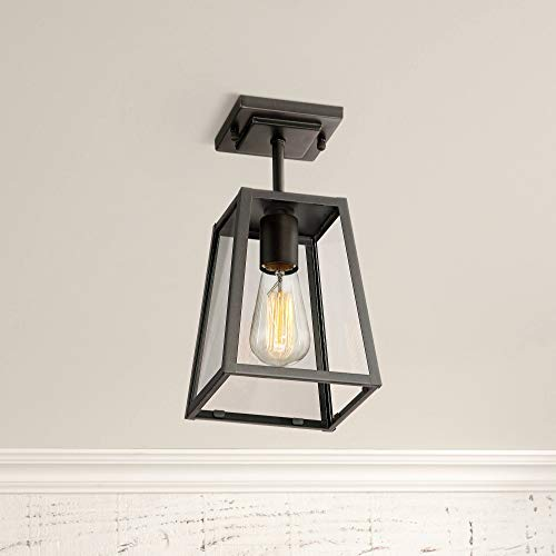 Arrington Modern Industrial Outdoor Ceiling Light Hanging Fixture Mystic Black 6 Clear Glass Damp Rated for Exterior House Porch Patio Outside Deck Garage Front Door Home Roof - John Timberland