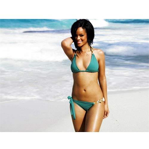 DNJKSA Rihanna Fenty Hot Bikini Sexy Body R&B Musik-Deko Schlafzimmer Wandposter Licht Leinwand Dekoration 61 x 91 cm ohne Rahmen