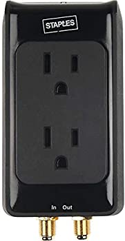 Staples 2-Outlet 1500 Joule Home Entertainment Surge Protector with Coax