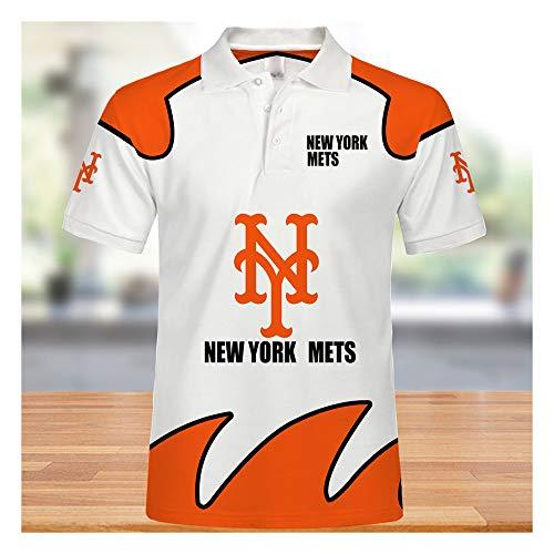 GMRZ MLB Poloshirts, Jersey Mit New York Mets Logo Design Major League Baseball Team Sweatshirts Fans Trikots Sommer Kurzarm T-Shirts Für Männer Und Frauen,M