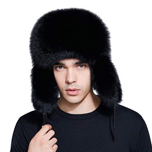 Men Winter Hat Genuine Fox Fur Russian Trapper Ushanka Hats Lamb Leather Caps Bomber Hat by BeFur