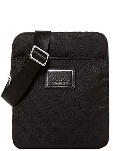 Guess Dan Logo Mini Flat Crossbody Black