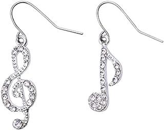 LUOEM 1 paar Vrouwelijke diamant Note oorbellen temperament oor ringen asymmetrische student oorbellen fonkelende geperson...