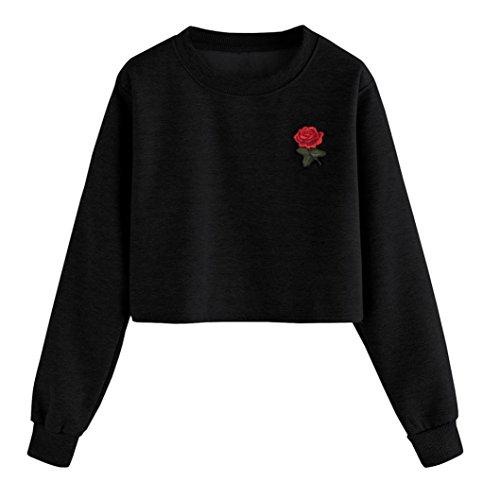TWIFER Damen Mode Langarm Sweatshirt Crop Pullover Rosen-Druck-beiläufige Oberseiten Bluse (S, E-Schwarz)