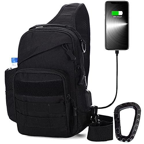 Tactical Sling Bag, Molle Shoulder Backpack Chest Crossbody...