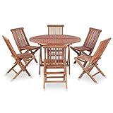 Tidyard Mobilier de Jardin 7 Pcs (1 Table Ronde Pliante + 6 chaises Pliante) en Bois de Teck Massif Style Naturel