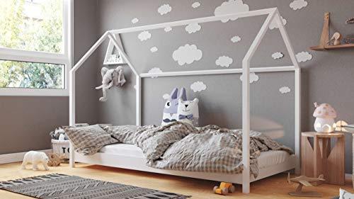 Cama Casita Montessori 90x200 80x180 80x160 - Cama Cabaña - Cama Infantil Blanca - Para Niños y Niñas - Madera de Pino Natural - 200x90 - Blanco