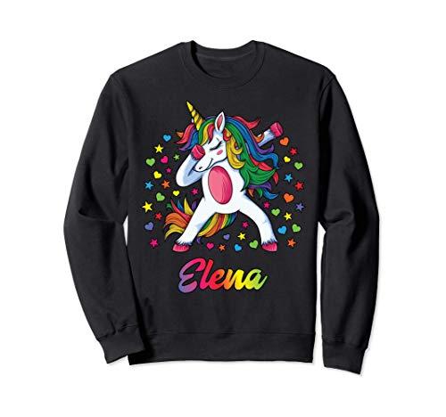 Elena Nombre Personalizado Regalo Cumpleaños Unicornio Sudadera