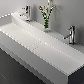 Weibath 47 Inch Wall Mount Double Sink Stone Resin Trough Bathroom