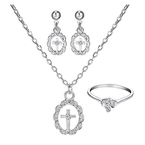 DSJTCH Joyería de Novia Conjunto de Cruz Collar Anillo Edge Simple Water Diamond Jewelry Juego (Color : One Size)