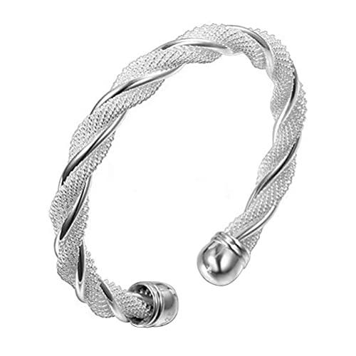 Kagodri Pulsera de malla de alambre trenzado, pulsera de personalidad popular para mujer, pulsera abierta de doble línea, adorno de mano tejida para mujer