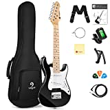 Vangoa Kids Electric Guitar, 30 Inch Electric Guitar Starter Kit for Kids Beginners with Digital Tuner, Capo, Strap, Strings, Cable, Picks, Wrenches - Black
