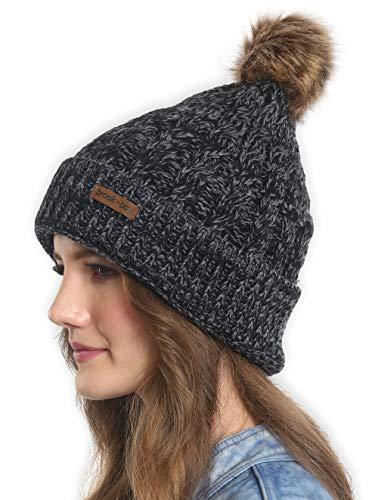 Brook + Bay Kunstfell Pom Pom Beanie–Stay Warm und stilvoll–Dicke, weiche & Chunky Cable Knit Beanie Hüte für Frauen & Herren–Serious Beanies für Serious Stil, Damen, Black Gray2