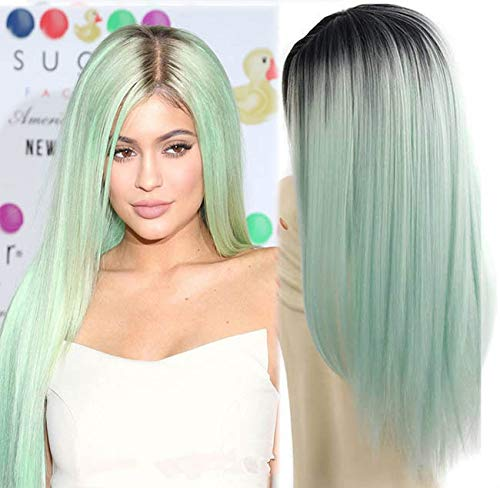 aSulis Ombre Long Natural Straight Black Roots Mint Green Ombre Synthetic Wigs for Women Middle Parting wigs 28' (Mint Green) …